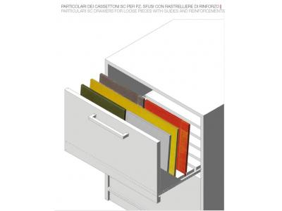 """PARTICOLARE CASSETTI """"SC"""" PER PZ. SFUSI CON RINFORZI /PARTICULAR SC DRAWERS FOR LOOSE PIECES WITH GUIDES AND REINFORCEMENTS"""